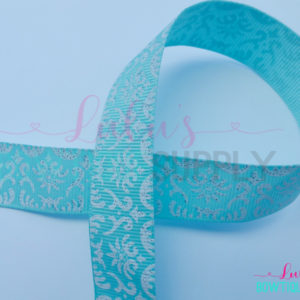Aqua White Damask US Designer 7/8 Grosgrain Ribbon - Bright White Damask -