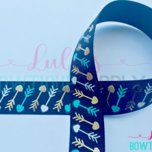 Black Aztec Arrow Hearts US Designer 7/8 Grosgrain Ribbon - Gold Foil Arrow - Tropic Arrow - Arrow