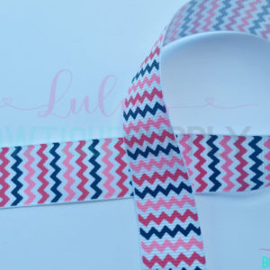 Black Hot Pink Chevron Valentine Collection US Designer 7/8 Grosgrain DIY ribbon - Matching Valentine Ribbon