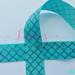 Quartrefoil Ribbon 7/8 Grosgrain Ribbon-Navy Quatrefoil on Tropic, Glitter Jazzy Lu Ribbons, Matches Mommy's Bestie Collection