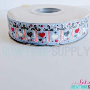 Printed Ribbon Wholesale 25yd spool, Foil Ribbon, 7/8 Independence day Crosses